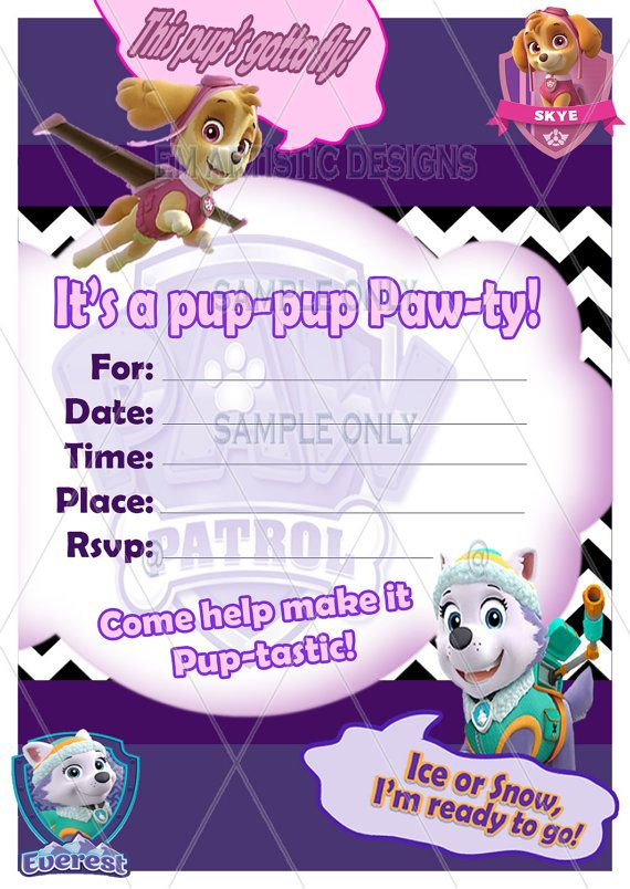 Girly Paw Patrol Invitations for your little rescuer dreaming of a Paw Patrol themed Party! Quick download and Print High Quality Invitations