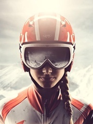 PORTRAIT OF A WOMAN MOTORCYCLE RIDER