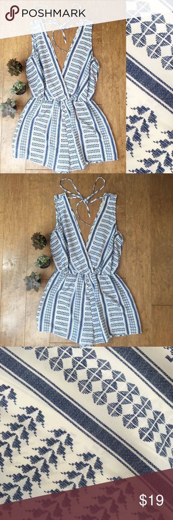 Boho Aztec Print Romper Romper is blue and white! Gained weight after I purchased it, so I wish I could wear it! Brand new with tags, in perfect condition. Dresses