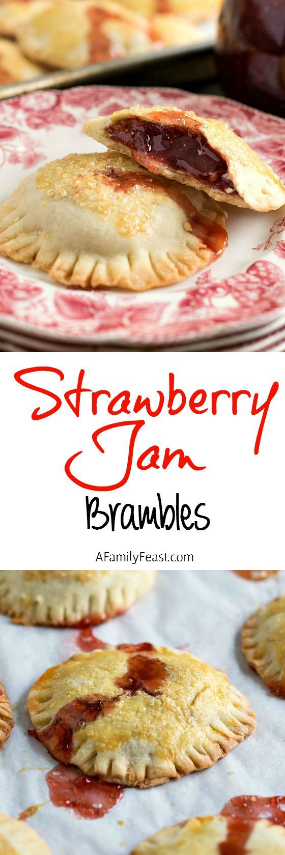 Strawberry Brambles – or hand pies - are delicious, little sweet treats with a flaky crust and filled with your favorite strawberry jam. So good!