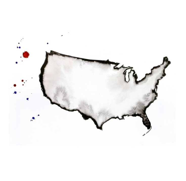 Watercolor map of USA Image united states