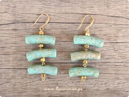 Turquoise Posidonia Ceramic Handmade Earrings | TWININAS.GR