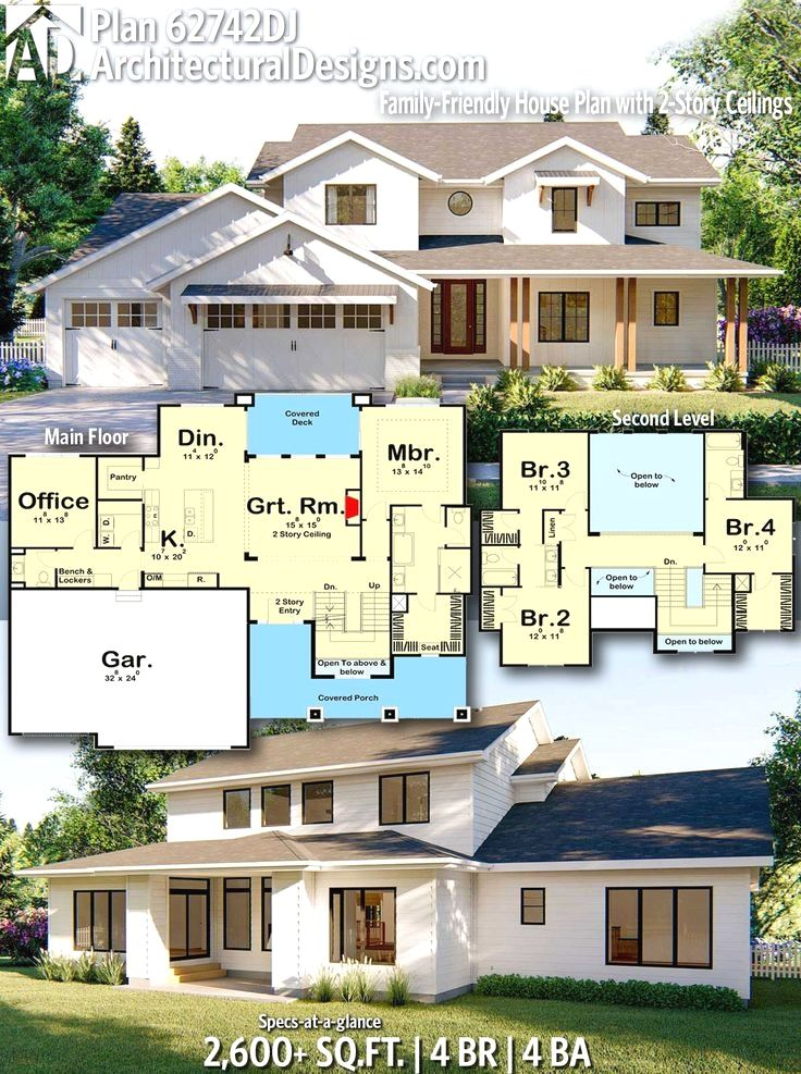 Plan 62742dj Family Friendly House Plan With 2 Story Ceilings House Plans House Design House