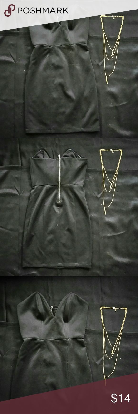 """Forever21 Black Dress & Necklace Bundle! Like new condition """"going out"""" dress! Black, satin material! Gold, 3 tier necklace, used once! Sweetheart neckline, zipper back! Both items from Forever21! Dresses Mini"""