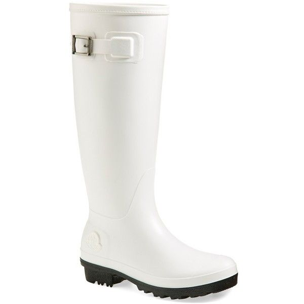 Moncler 'Hermine' Rain Boot ($235) ❤ liked on Polyvore featuring shoes, boots, rubber sole boots, black and white rain boots, rubber rain boots, wellington boots and black and white boots