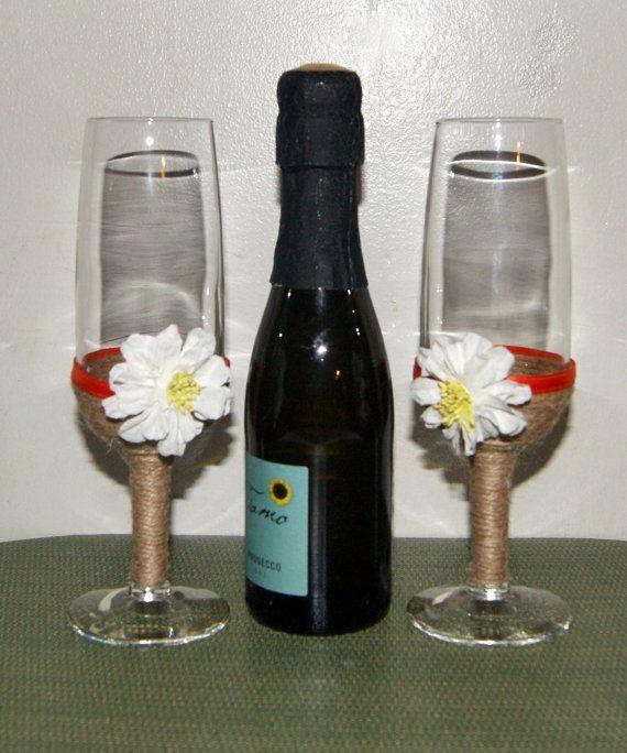 Peach Wedding / Wedding Champagne Glasses / Fall Wedding / Daisy Wedding Decor…