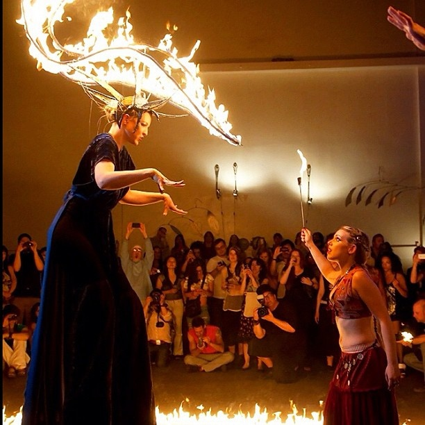 """Fire stilt headdress by Flambeaux, worn by Claire de Luxe. With Kai Altair in Flambeaux Fire and Kai's show """"The Calling"""" at Gowanus Ballroom in Brooklyn, NY"""