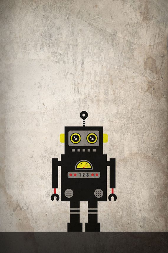 Robot posters from Etsy user JWCdesigns.