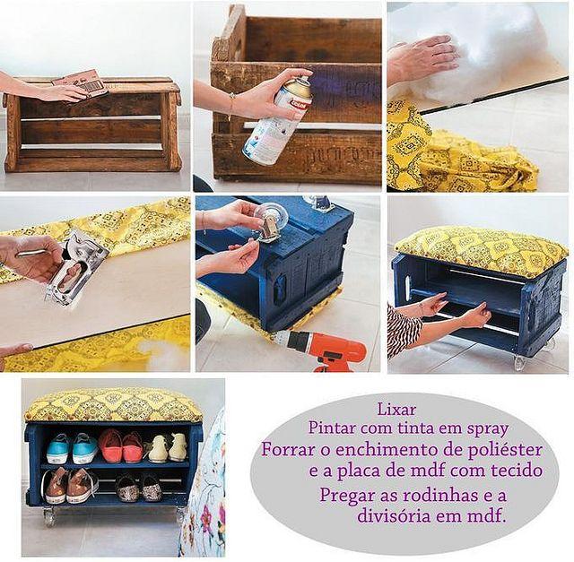 Reciclagem caixote de madeira