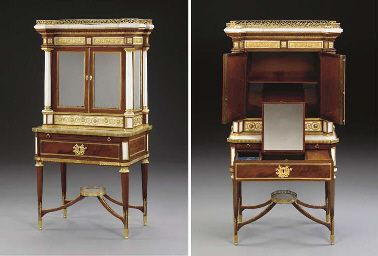 A RUSSIAN ORMOLU-MOUNTED WHITE MARBLE AND MAHOGANY…
