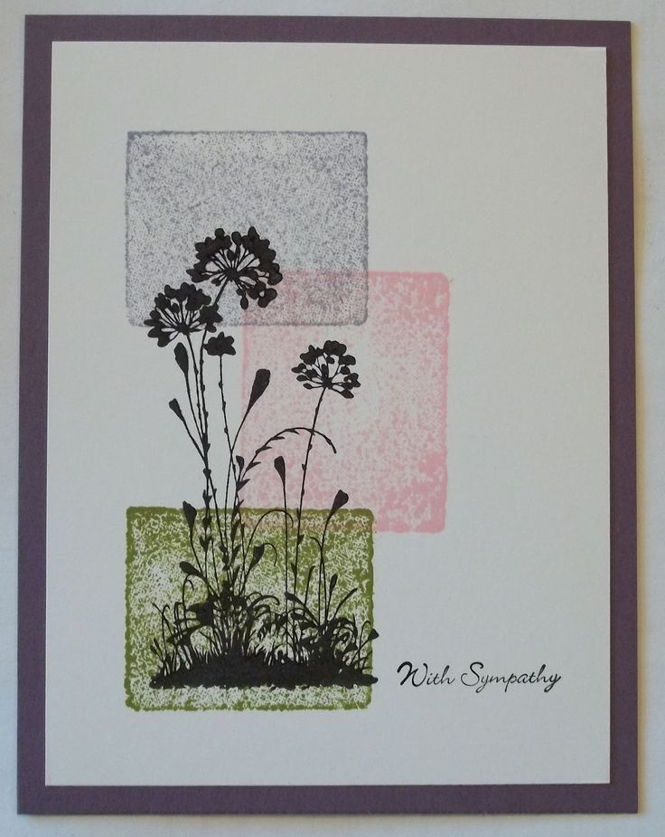 Card made with Stampin'UP! set called Serene Silhouettes. Background is the Acrylic Block Technique.