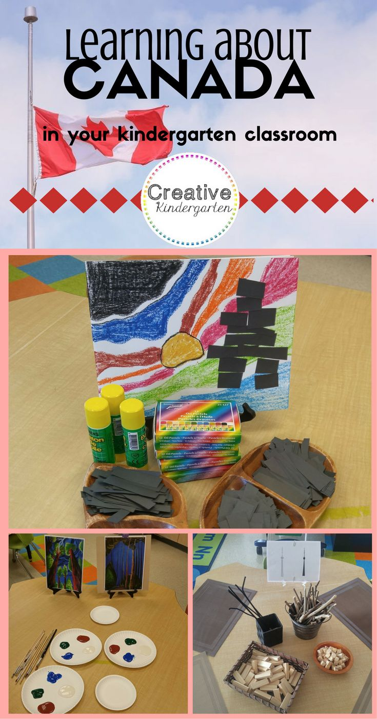 Learning about Canada in your kindergarten classroom. Great art and loose parts activities to learn about different provinces and territories. Great art centers to learn and discover British Columbia, the Territories and Ontario!
