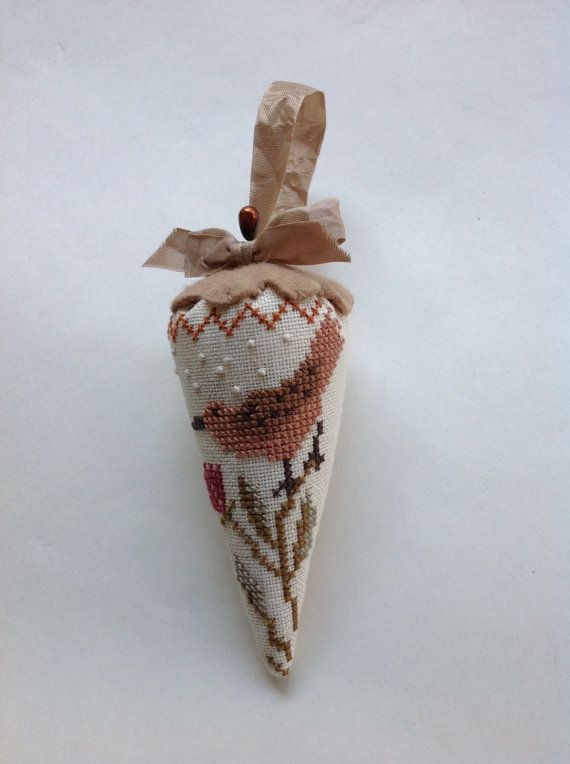 Hand stitched cross stitched strawberry Emory by TheOldNeedleShop