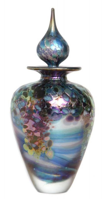 """Monet-amphora-perfume-bottle-opal-  Following on from our original 'Monet' commission from the National Gallery, we are delighted to introduce our new design inspired by Claude Monet """"The Bridge over the Water Lily pond"""" 1905."""