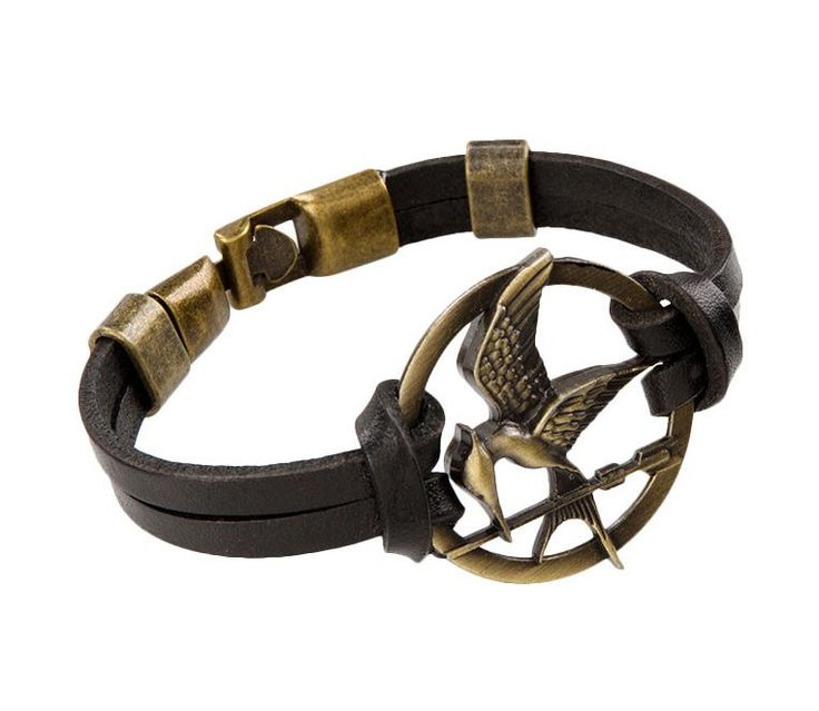 Hunger Games Bracelet by Saint Marco. Synthetic leather hunger games strap bracelet, and metal hunger games symbol, hook and eye closure, this hunger games bracelet will be a perfect match for your accessories. http://zocko.it/LE1lV