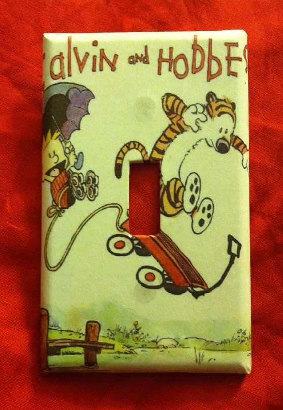 Calvin and Hobbes flyer light switch cover