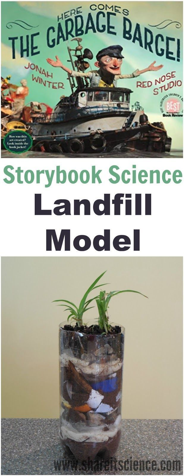 """Here Comes the Garbage Barge"" inspired Landfill Model. Where does our trash go? Use this children's picture book as a launching point for why we should conserve and make less waste! Build a landfill model to understand the process. Awesome for Earth Day or environmental club."