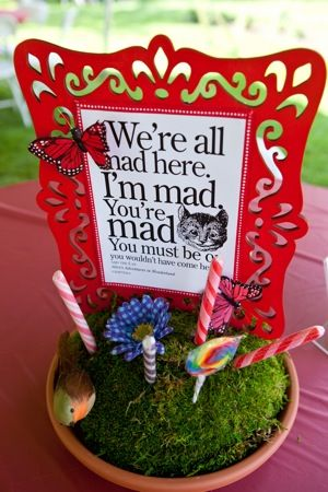 planter with sweets and Mad Hatter theme