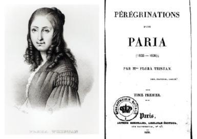 Los libros más importantes de Flora Tristán: Flora Tristán y la portada de la primera edición de su libro 'Peregrinaciones de una paria'.