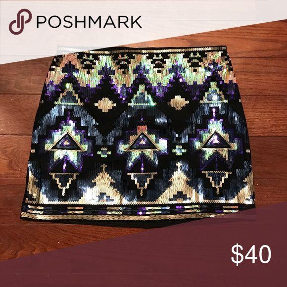 Skirt Multi color Aztec sequins skirt. Skirt stretches Express Skirts Mini