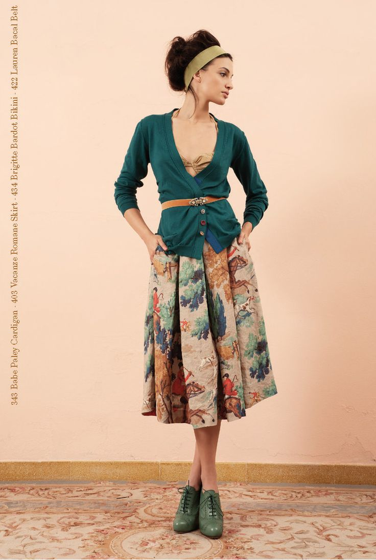 Belted teal cardigan and fox hunting print circle skirt from Semi-Couture S/S '12.