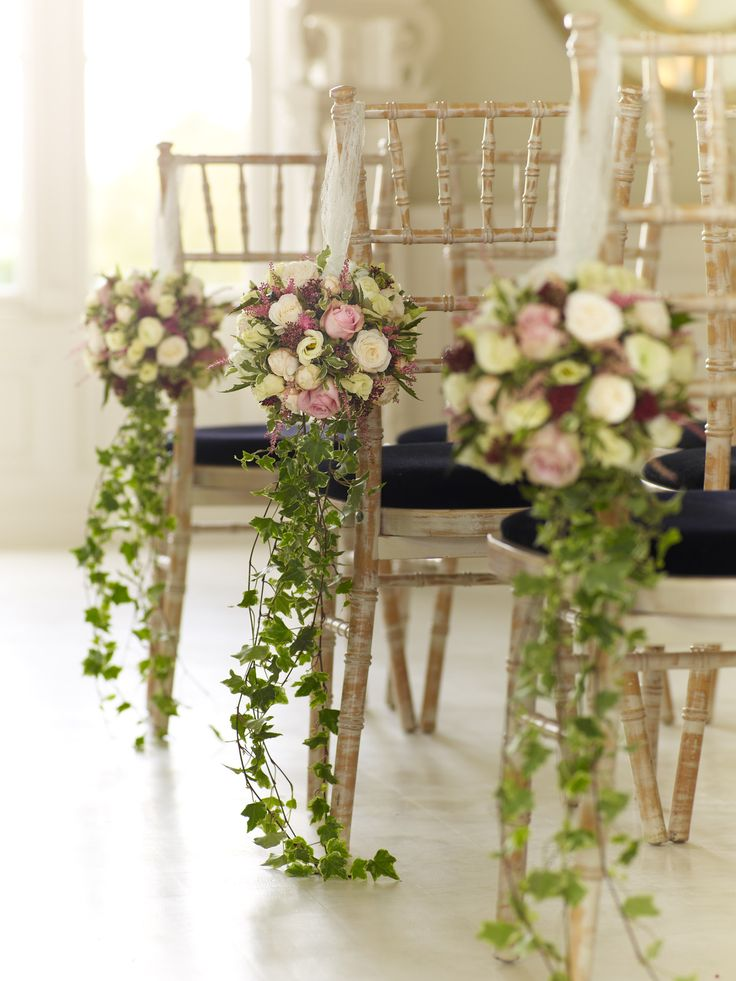 Pew end flowers for a wedding in stunning blush colours www.tablescapesbydesign.com https://www.facebook.com/pages/Tablescapes-By-Design/129811416695