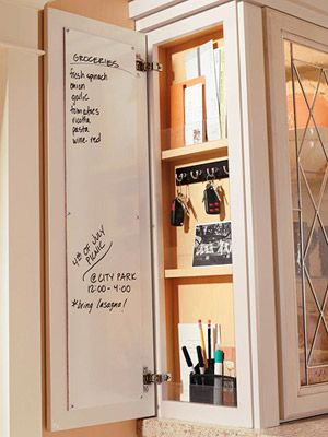 "we are going to build a hidden ""info"" board like this one on the cabinet side across from fridge. we will use the door left over from the ""open cabinet"" to use for this - 10 inches wide"
