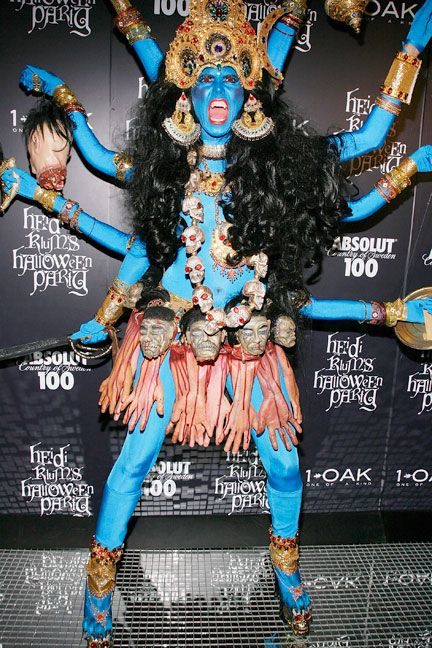Heidi Klum dresses as Goddess Kali for her 9th annual Halloween party at 1 OAK on October 31, 2008 in New York City.