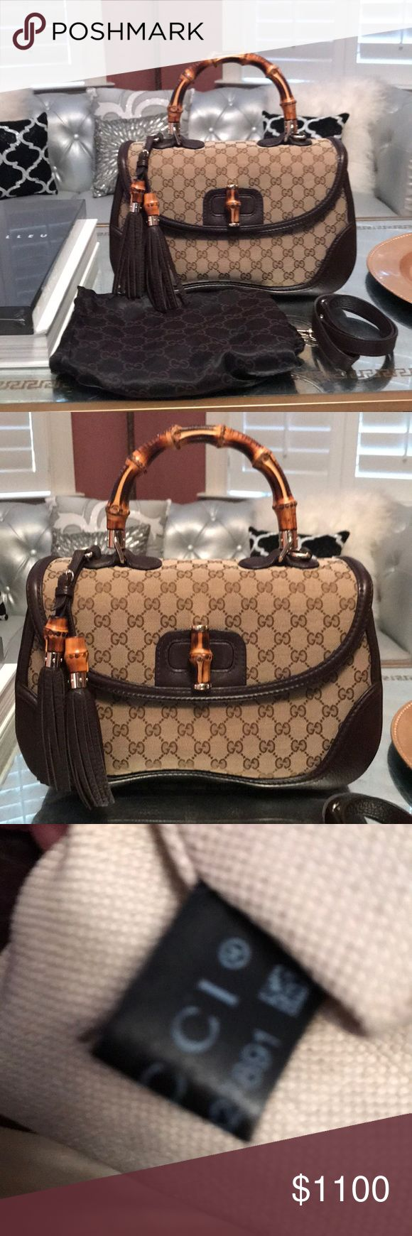 Gucci bamboo large bag Gucci logo bamboo large top handle bag. New. Barely used. No marks or worn places whatsoever. Comes with dust bag. Gorgeous gold and bamboo hardware. Also comes with shoulder strap. Gucci Bags Shoulder Bags