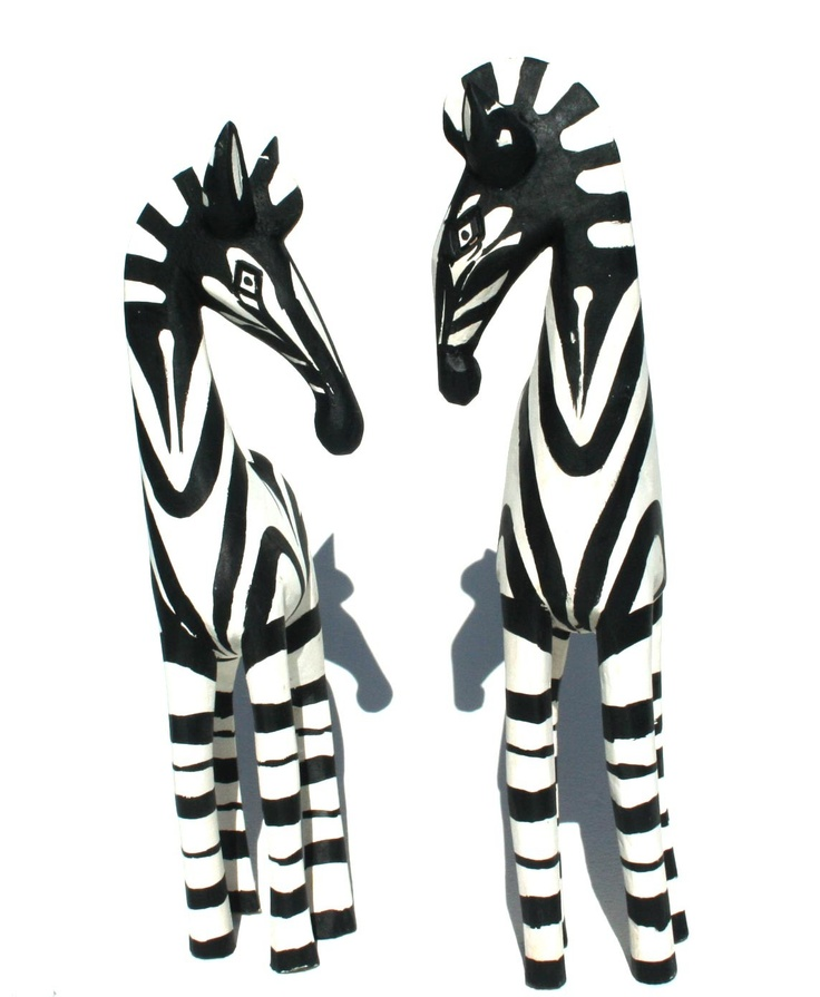 Wooden Zebra Curio Pair from Africa