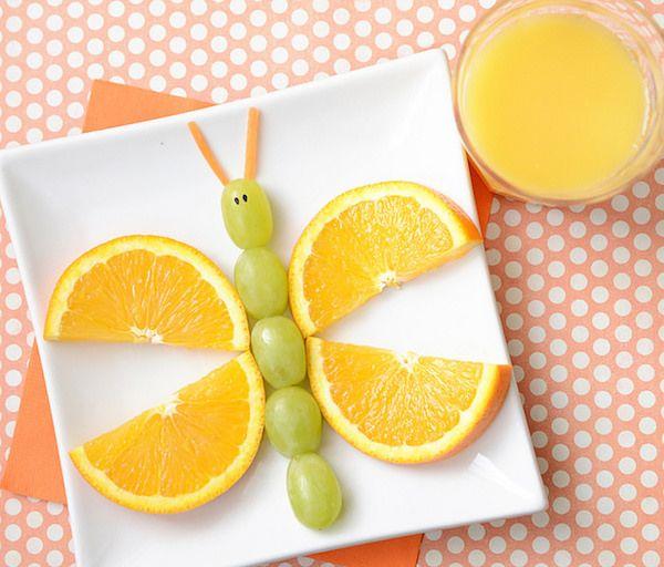 Mariposa de uvas y naranja ideal para los niños que no quieren comer fruta.   modaparalospeques.com. Blog de moda infantil y mucho más.