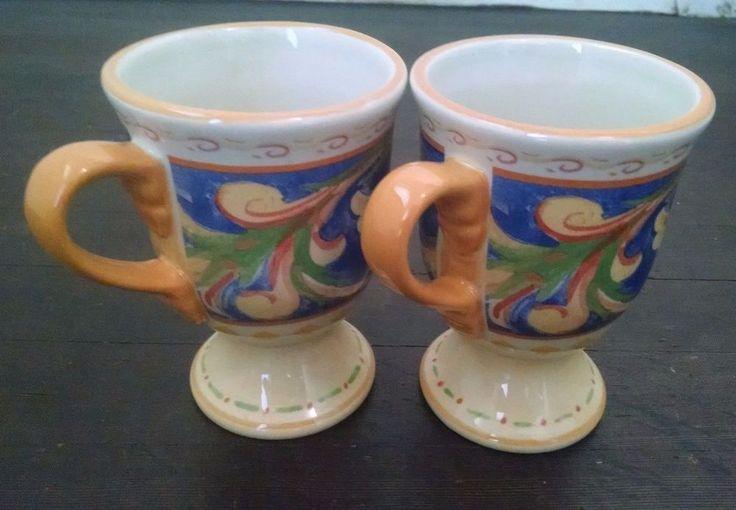 Villa della Luna Pfaltzgraff 2 Coffee Mugs Mediterranean Pedestal Footed New #Pfaltzgraff