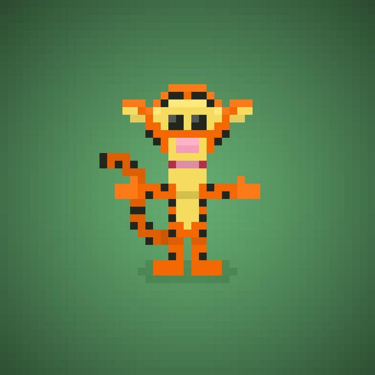 Famous Characters in Pixel Art • Tigger or Tigro from Winnie the Pooh cartoons #tigger #tigro #tigre #tiger #animals #animali #winniepooh #pooh #bear #disney #toy #honey #cartoons #cartonianimati #thinkthinkthink #pixelart #pixel #16bit #orsettopooh #orsetto