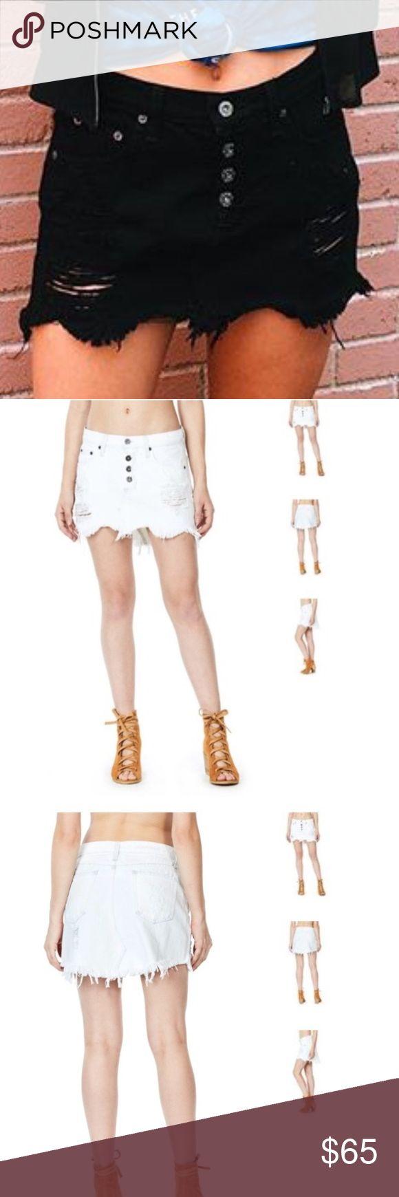 Black LF distressed jean skirt BRAND NEW NEVER WORN LF/ Carmar distressed mini jean skirt. LF Skirts Mini
