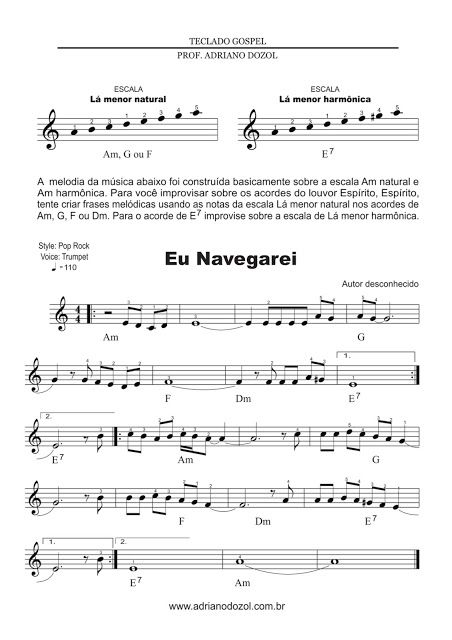 Adriano Dozol - Dicas, Partituras Grátis e Vídeos - Teclado | Piano: Eu navegarei - Harpa Cristã - Partitura para Teclado