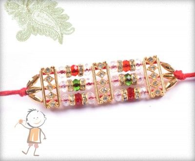 buy online rakhi - #Designer #Diamond #Traditional #Rakhi, Traditional Diamond Crystal Beads Rakhi , surprise your loved ones with roli chawal, chocolates and a greeting card as it is also a part of our package and that too without any extra charges.  http://www.bablarakhi.com/