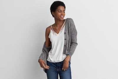 AEO Slouchy Cardigan by  American Eagle Outfitters | Layer your way. Style isn't about rules. It's about breaking them: turning trends upside down and clothes inside out.  Shop the AEO Slouchy Cardigan and check out more at AE.com.