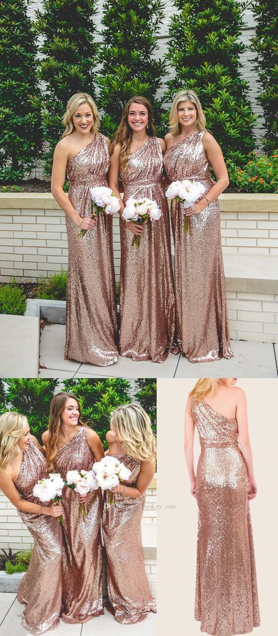 Rose Gold Bridesmaid Dresses,Bridesmaid Dresses Long,One shoulder Bridesmaid Dresses,Sequins Bridesmaid Dresses,FS100