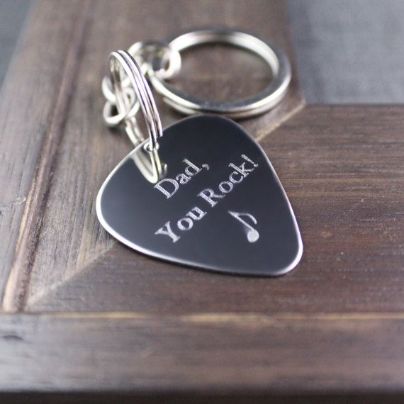 Engraved Guitar Pick, Guitar Pick, Guitar Pick Keychain, Dad You Rock, Music Gift, Musician Gift, Gift for Dad, Father's Day Gift