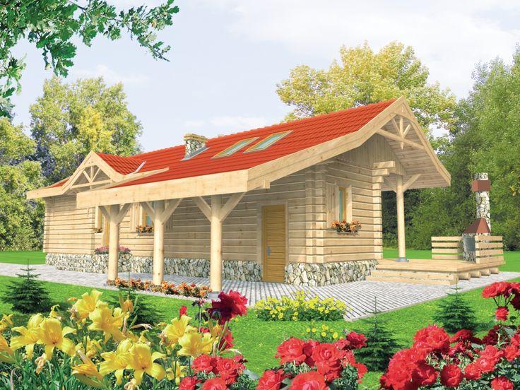 DOM AE7-92 - Przytulny dom letniskowy z bali, parterowy, niepodpiwniczony z możliwością doprojektowania piwnicy, przeznaczony dla 3-4-osobowej rodziny