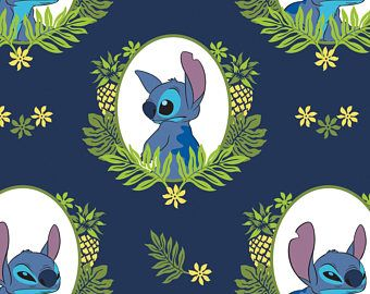 Camelot Fabrics - Disney Navy Lilo & Stitch Tropical Frame - Fabric by the Yard
