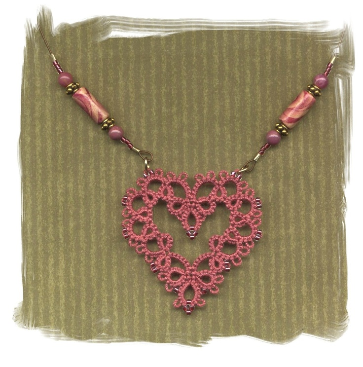 Tatting. How to incorporate tatted heart into necklace ...