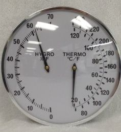 """Steam Sauna Thermometer/Hygrometer - this 5"""" diameter thermometer housed in stainless steel is specifically designed by Finnleo for the high heat & humidity of any sauna room. #spa #hottub http://www.olympichottubestore.com/Steam-Sauna-Thermometer-Hygrometer-p/fi-9251-05.htm"""