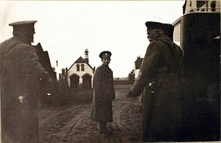 Tsarevich Alexei Nikolaevich Romanov of Russia at Riga on 29 October 1915,in front of the city hospital.A♥W
