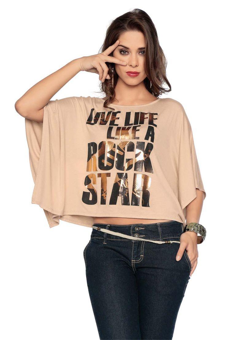 Moda para chicas  Ombliguera  color palo de rosa con letras estampadas en dorado,  lo puedes combinar con todo!1