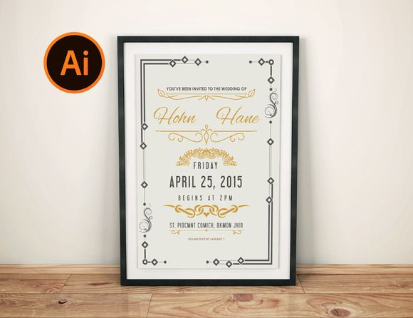wedding invitation card by Themefisher on Creative Market