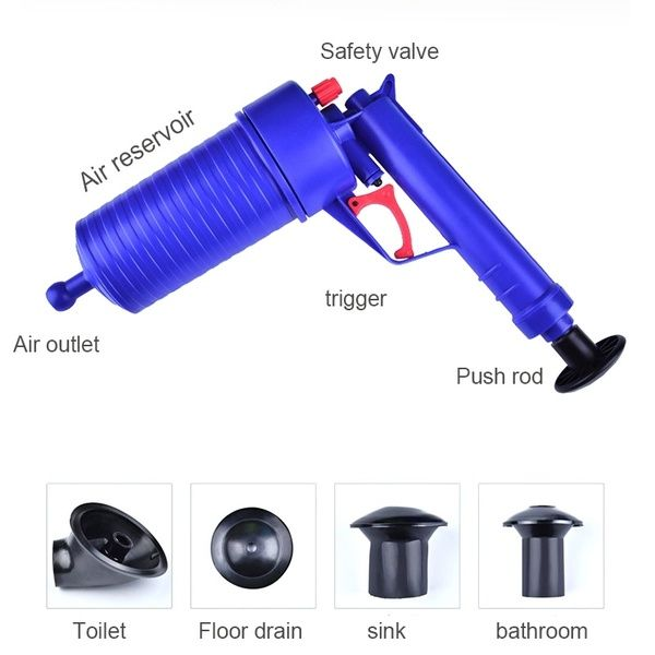 Kitchen Toilet High Pressure Drain Pipes Sinks Air Power Blaster Cleaner Plunger Clog Remover In 2020 Plunger Cleaners Drain Pipes
