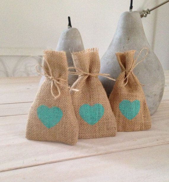 100 Mint Green Hessian/ Burlap Wedding Favor Bags by BreeWestwood, $150.00