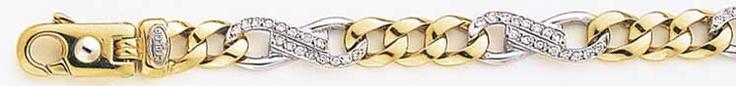 Mens Diamond Bracelets - 14K Solid Gold Two-tone Braccio Men's Diamond Bracelet.