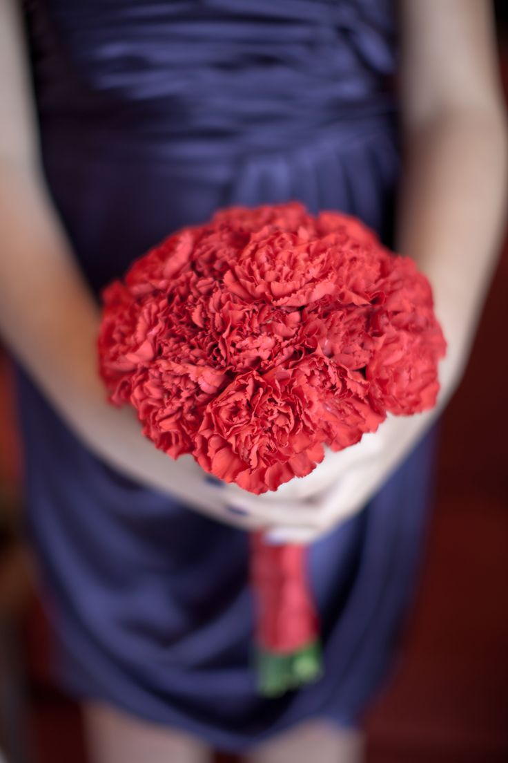 Red Carnation Bridesmaid Bouquet